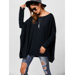 cheap Drop Shoulder Side Slit Smock Tee