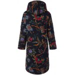 cheap Hooded Floral Print Plus Size Coat