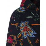Hooded Floral Print Plus Size Coat deal