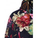 Hooded Floral Printed Plus Size Coat deal