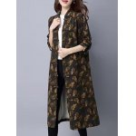 cheap Printed Maxi Coat with Frog buttons