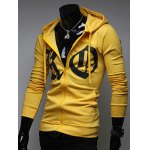 Pocket Front Zip Up Drawstring Graphic Hoodie deal