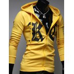 cheap Pocket Front Zip Up Drawstring Graphic Hoodie
