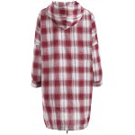 cheap Hooded Drawstring Buttoned Plaid Blouse