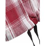 Hooded Drawstring Buttoned Plaid Blouse photo