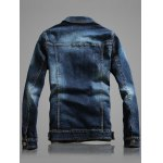 cheap Multi-Pocket Distressed Long Sleeve Denim Jacket