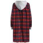 cheap Hooded Plaid Button Up Coat