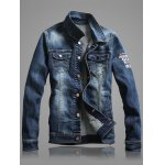 Multi-Pocket Letter Print Denim Jacket