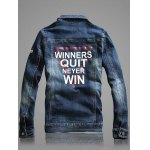 cheap Multi-Pocket Letter Print Denim Jacket