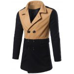 Color Matching Epaulet Design Double Breasted Coat