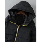 cheap Hooded Drawstring Quilted Jacket