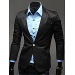 Notch Lapel Breasted Pocket One-Button Blazer for sale
