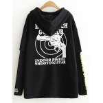 cheap Graphic Print Patchwork Hoodie