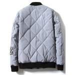 cheap Zipper-Up Applique Rhombus Quilted Jacket
