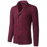 cheap Shawl Collar Button Up Twist Striped Texture Cardigan