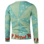 cheap Crew Neck Santa Printed Color Block Splicing Long Sleeve Sweatshirt