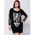 Plus Size Skeleton Print Hallowmas Mini Dress deal