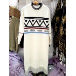 Geometry Jacquard Fringe Sweater Dress for sale