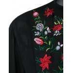 Plus Size Flower Embroidery High Low Blouse for sale