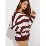 cheap Scoop Neck Striped Color Block Sweater