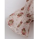 best Vintage Pleated Tiny Floral Chiffon Blouse