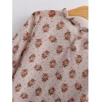 Vintage Pleated Tiny Floral Chiffon Blouse for sale
