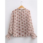 cheap Vintage Pleated Tiny Floral Chiffon Blouse