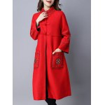 Chinese Button Embroidered Woolen Coat deal