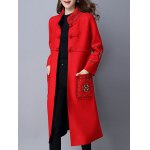 cheap Chinese Button Embroidered Woolen Coat