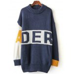 Color Block Letter Long Sweater