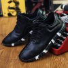 Stitching Lace-Up Textured PU Leather Athletic Shoes for sale