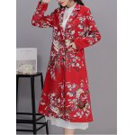cheap Vintage Floral Print Long Coat