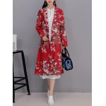 Vintage Floral Print Long Coat for sale