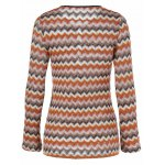 cheap Zigzag Pattern Button Embellished Knitted Pullover