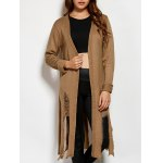 cheap Collarless Slit Ripped Long Cardigan