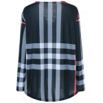 cheap Plus Size Adjustable Sleeve Striped T-Shirt