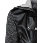 PU Patchwork Zipper Pockets Hooded Jacket for sale