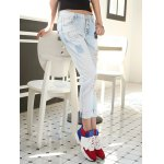 Loose Button Fly Distressed Jeans deal
