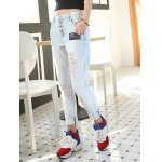 cheap Loose Button Fly Distressed Jeans