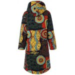 cheap Hooded Ethnic Print Plus Size Coat