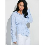 cheap Hook and Eye Button Up Striped Shirt