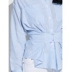 best Hook and Eye Button Up Striped Shirt