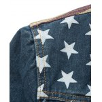Star Stripe Print Distressed Jean Jacket for sale