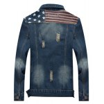 cheap Star Stripe Print Distressed Jean Jacket