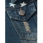 best Star Stripe Print Distressed Jean Jacket