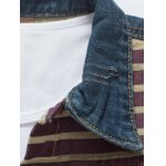 Star Stripe Print Distressed Jean Jacket deal