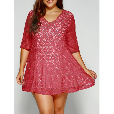 Openwork Plus Size Lace Dress