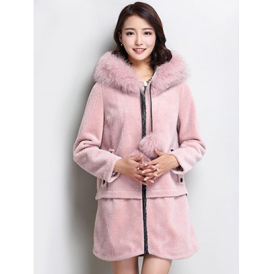 Fluffy Faux Fur Hooded Coat