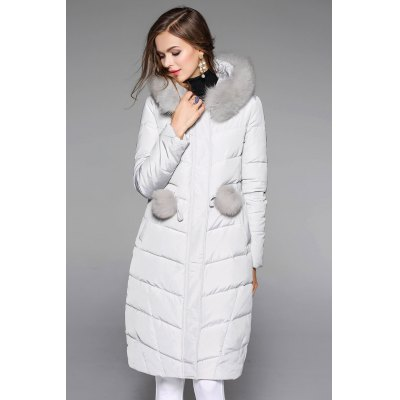 Fur Insert Hooded Quilted Down Coat