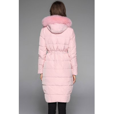 Fox Fur Hooded Quilted Down Coat